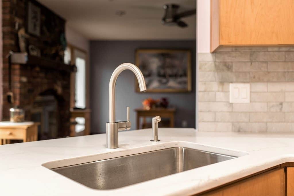 sycamore kitchen remodel modern faucet close up